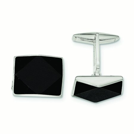 Sterling Silver Simulated Onyx Cuff Links