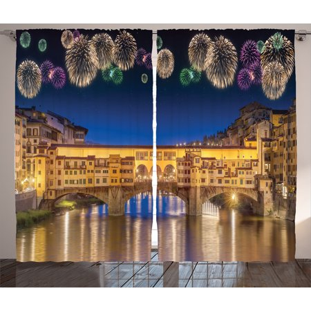 - Cityscape Curtains 2 Panels Set, Night Panoramic View of Vecchio Bridge Florence Italy with Colorful Fireworks, Living Room Bedroom Decor, Gold Navy Purple, by Ambesonne