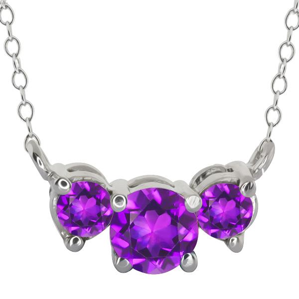 0.75 Ct Genuine Round Purple Amethyst Gemstone 925 Sterling Silver Pendant