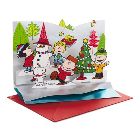 Hallmark Peanuts Papercraft Christmas Boxed Cards, Pop Up Winter Scene (5 Cards with Envelopes)