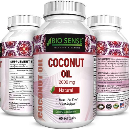 Bio Sense Pure and Organic Coconut Oil, Cold Pressed, Highest Grade and Quality Softgels (Best Supplements) - Certified Full Strength - 100% Natural with 2000 mg per