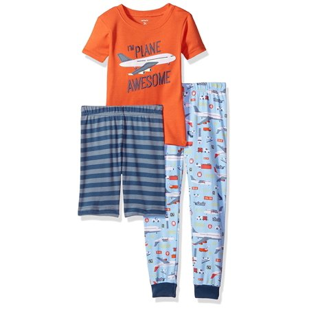 Carters Little Boys 3 Piece Jersey Cotton Pajama Sleepwear Set (Plane Awesome, 5) (Carters 3 Piece Boys)