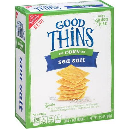 (2 Pack) Good Thins Sea Salt Corn & Rice Snacks, 3.5 oz (Good Party Food For Halloween)