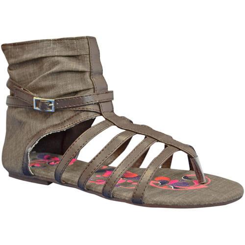 SUN LUKS Printed Canvas Gladiator Sandals