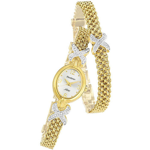 Armitron Women's Now Collection Swarovski Crystal Accented Watch and Bracelet Set, Gold-Tone