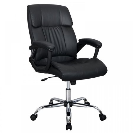 Long Back Chair - Black PU Leather Ergonomic High Back Executive Best Desk Task Office Chair