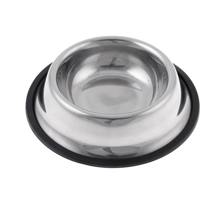 Unique Bargains Nonslip Rubber Ring Base Stainless Steel Pet Dog Water Food Bowl 1.2