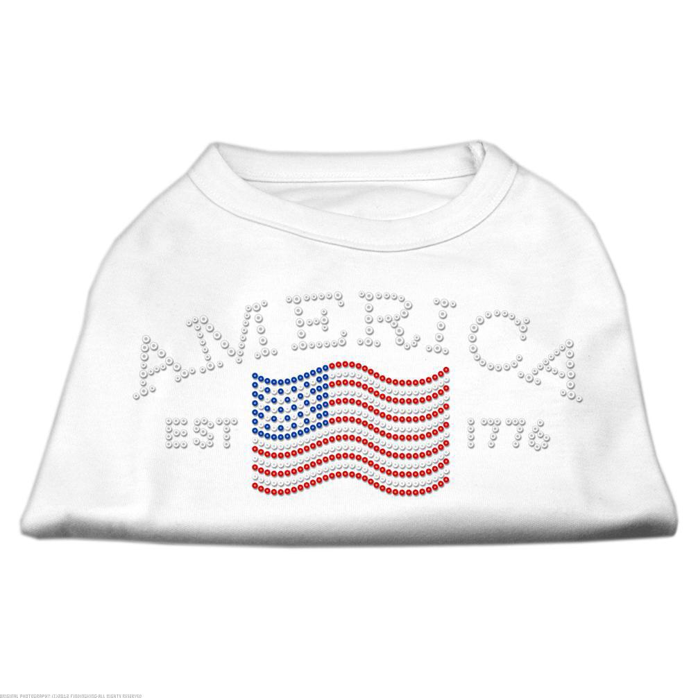 Classic American Rhinestone Shirts White XS (8)