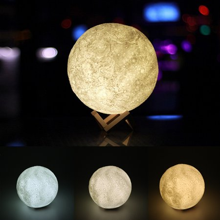 Lemonbest 3D Printing Moon Table Light LED Night Light Desk Lamp USB Rechargeable 3 Colors Adjustable Brightness for Home Decoration Christmas Gift - Desk Decoration