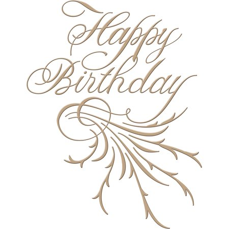 Glimmer Swirl - Spellbinders Glimmer Hot Foil Plate-Happy Birthday-Copperplate Script