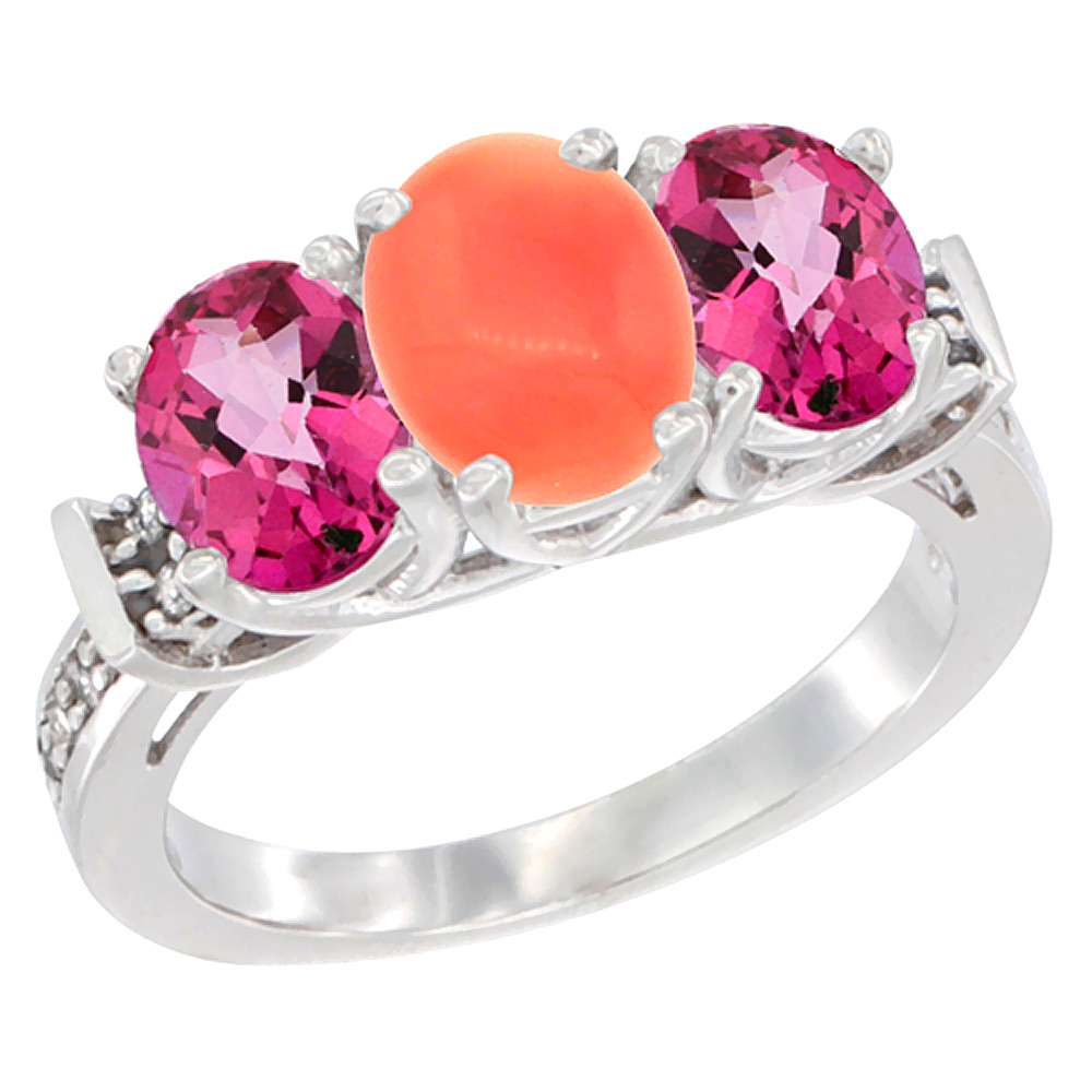 14K White Gold Natural Coral & Pink Topaz Sides Ring 3-Stone Oval Diamond Accent, sizes 5 10 by WorldJewels