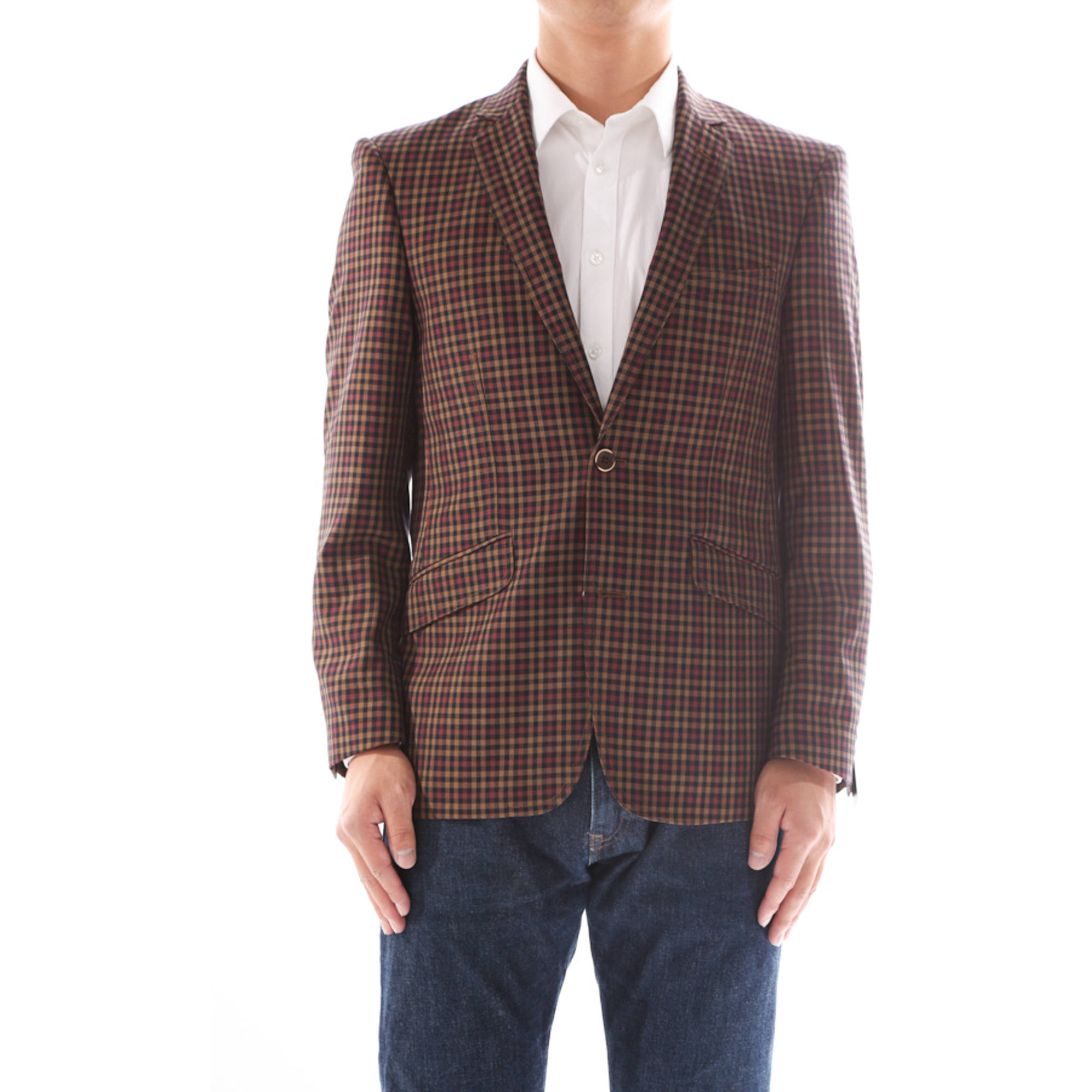 Verno Civello Men's Brown and burgundy Micro-Plaid Slim Fit Italian Styled Blazer