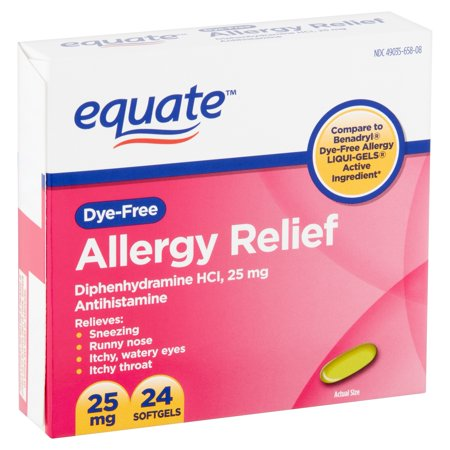Equate Dye-Free Allergy Relief Diphenhydramine Softgels, 25 mg, 24 Count