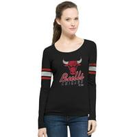 Chicago Bulls '47 Women's Hardwood Classics Three Point Long Sleeve T-Shirt - Black