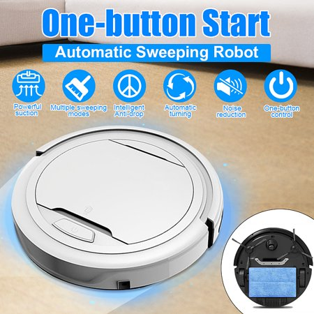 40-60dB Cordless Robotic Vacuum Cleaner Low Noise Household Intelligent Vacuums Robot Sweeper Full Rechargeable Automatic Floor Cleaner Hardwood/Tile Floor/Carpet Strong Sweeping with