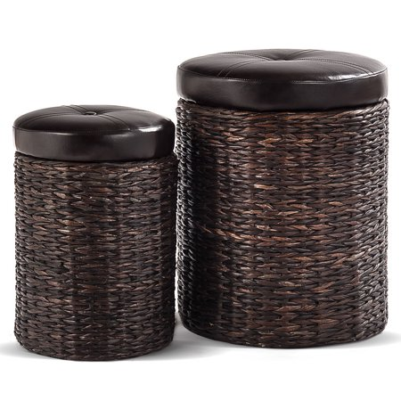 Gymax 2-Piece Foot Rest Hassocks Rattan Stools Leather Ottoman Seating Storage Stools ()