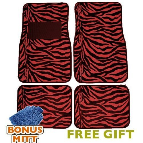 A Set of 4 Universal Fit Animal Print Carpet Floor Mats for Cars/Truck - Red Zebra Stripes & Bonus Detailing WASH MITT