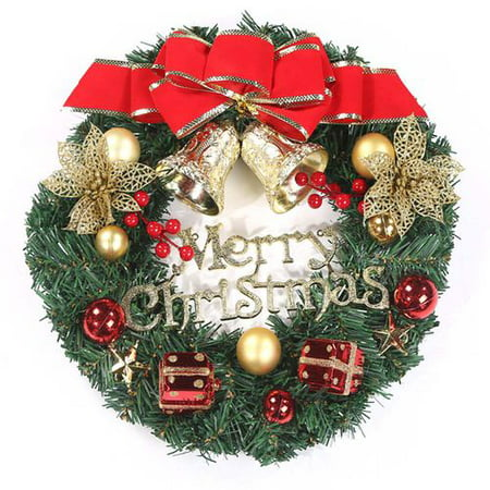 KABOER Christmas Window Door Decoration Hanging Ornament Wreath Xmas Tree Garland Bells ()