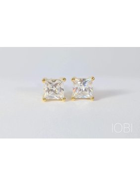 67102568f Product Image ON SALE - Tiara Princess Cut IOBI Simulated Diamond Solitaire  Stud Earrings Yellow Gold / 1.3