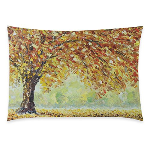 ZKGK Oil Painting Autumn Tree Home Decor, Yellow Maple Tree Pillowcase 20 x 30... by ZKGK