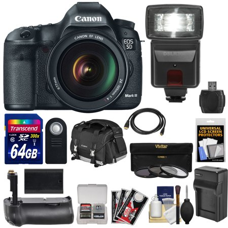 Canon Eos 5D Mark Iii Digital Slr Camera With Ef 24 105Mm L Is Usm Lens With 64Gb Card   Battery   Charger   Backpack   Grip   Flash   Accessory Kit