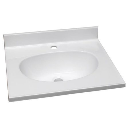 37 in. Cultured Marble Single Faucet Hole Vanity Top, White & White
