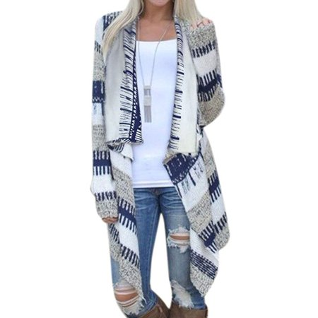Womens Geometric Casual Cotton Blended Cape Cloak Cardigan Coat
