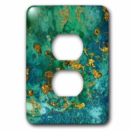 3dRose Art print of Green Indigo Gold Marble Agate Mineral Malachite Quartz - 2 Plug Outlet Cover (Indian Green Marble)