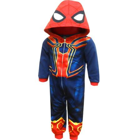 Spiderman Onesie (Spiderman Fleece Blanket Sleeper Pajamas With)
