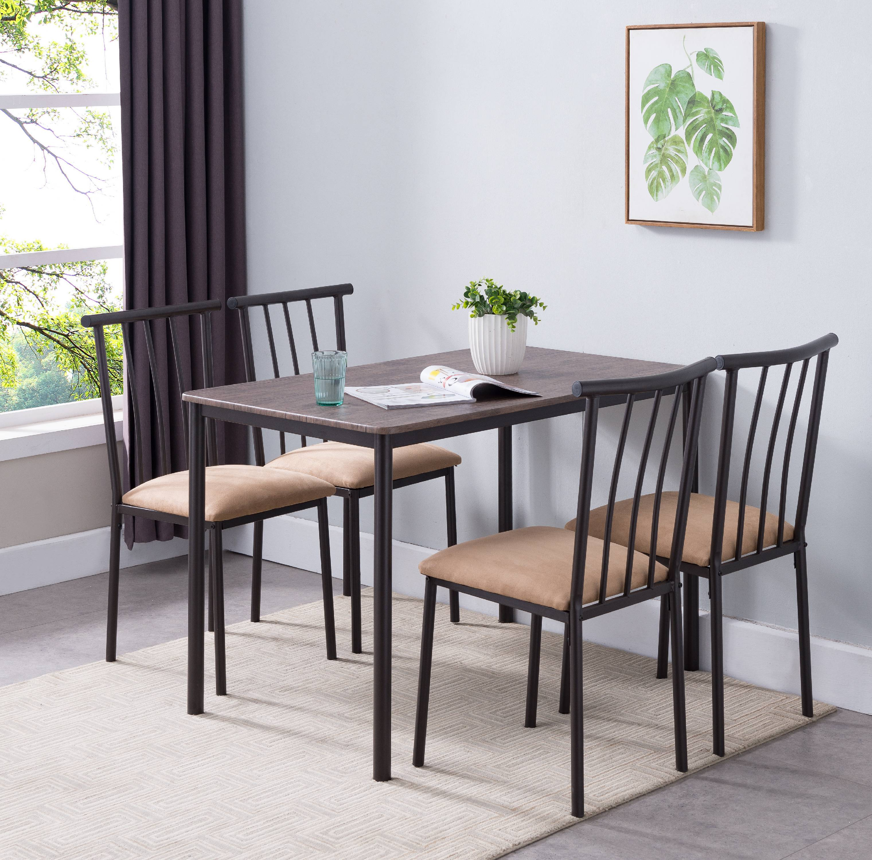 Ira 5 Piece Dining Set, Black Metal Frame, Brown Wood Top, Microfiber Seat, Transitional (Rectangular Table & 4 Chairs)