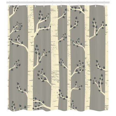 Grey Shower Curtain Birch Tree Branches Vintage Bohemian Contemporary Illustration Of Nature Fabric Bathroom