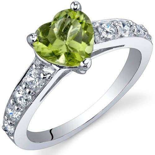 Oravo 1.25 Carat T.G.W. Peridot Rhodium over Sterling Silver Ring