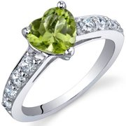 1.25 ct Heart Shape Green Peridot and Cubic Zirconia Ring in Sterling Silver