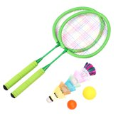 1 Set Badminton Racket Set Portable Amateur Lightweight Outdoor Sports Supplies Badminton Set for Children Training Sports