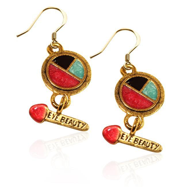 Whimsical Gifts 2641G-ER Eye Shadow & Brush Charm Earrings in Gold