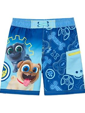 Toddler & Boys Blue Puppy Dog Pals Swim Trunks Bingo & Rolly Board Shorts