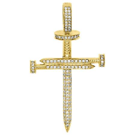 10k Yellow Gold Genuine Round Diamond Nail Cross Pendant Mens 2 25 Charm 1