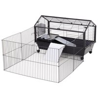 PawHut Rolling Metal Rabbit, Guinea Pig, or Small Animal Hutch Cage with Main House and Run