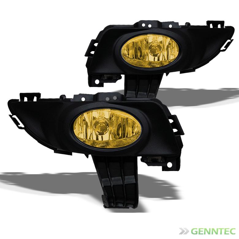 2004-2006 Mazda 3 Sedan 4 Door Bumper Yellow Fog Lights Lamp+Switch+Bulbs 2005 Pair Left+Right
