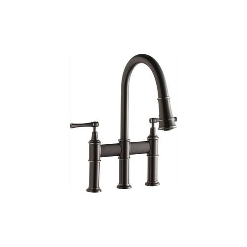 elkay lkec2037as explore pull-down bridge kitchen 3-hole faucet