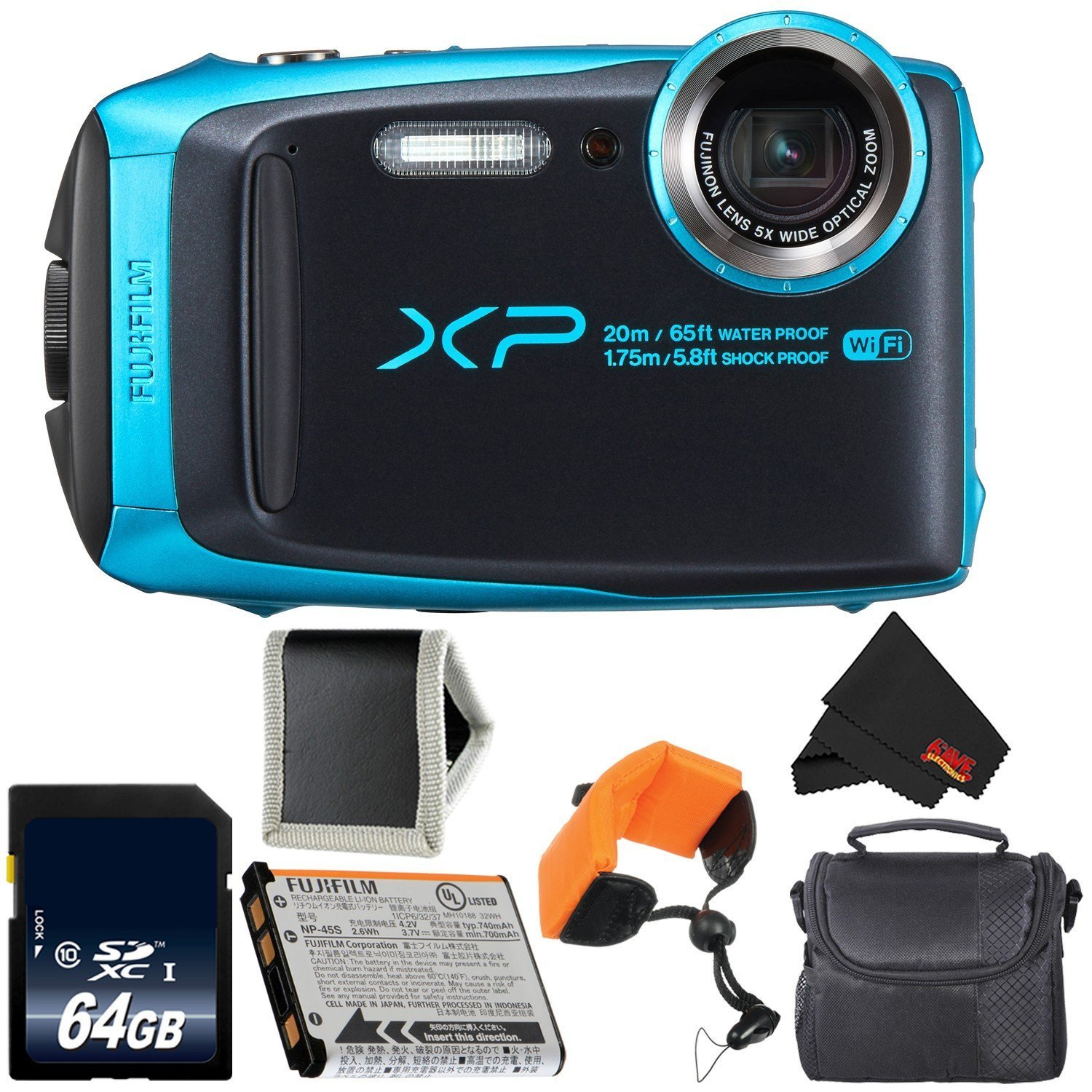 Fujifilm FinePix XP120 Digital Camera (Sky Blue) 600019758 + 64GB SDXC Class 10 Memory Card + FUJI XP RUGGED FLOATING STRAP + Memory Card Wallet + MicroFiber Cloth + Small Soft Carrying Case Bundle