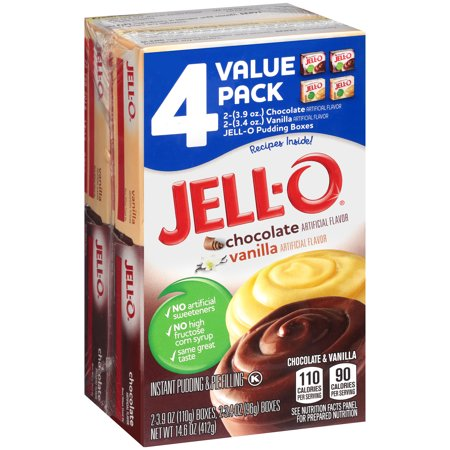 Jell-O Chocolate and Vanilla Instant Pudding Mix, 4 ct - 14.0 oz