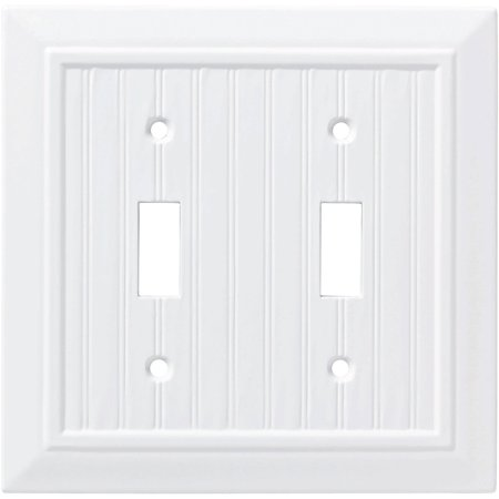 Franklin Brass Classic Beadboard Double Switch Wall Plate in Pure White