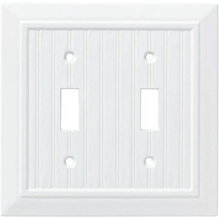 Franklin Brass Classic Beadboard Double Switch Wall Plate in Pure White Double Switch Combo Solid Brass