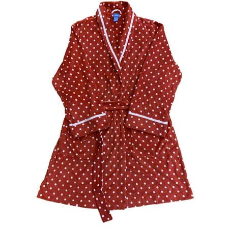 Womens Plush Red & White Polka Dot Bathrobe Robe Housecoat