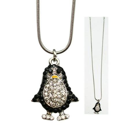Nature's Necklace Bejeweled Rhinestone Penguin Pendant - Penguin Necklaces
