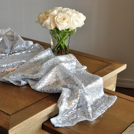 Silver Sequin Table Runner for Parties. Ships in 1-3 Business Days. Winter Wonderland Party Decorations. Silver Wedding Table - Silver Sequin Table Runner