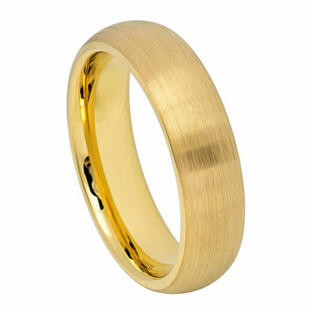 Men Women 6MM Comfort Fit Tungsten Carbide Wedding Band Domed Classic Style Brushed Gold Tone Ring (5 to 12) Classic Comfort Fit Wedding Band