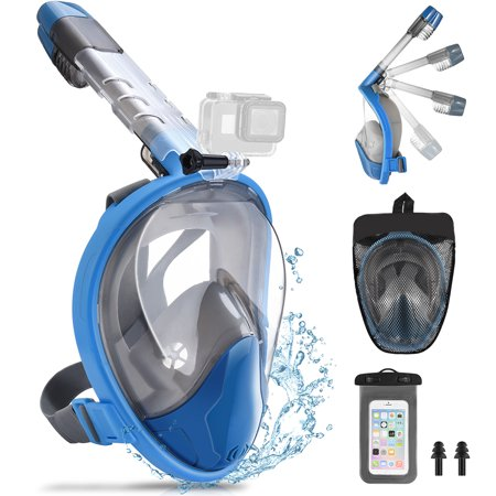 RUNACC Sea View 180° Full Face Snorkel Diving Mask Foldable Snorkeling Mask with Camera Mount, Send Waterproof Phone Pouch and Earplug (S/M - Blue) - Full View Dive Mask