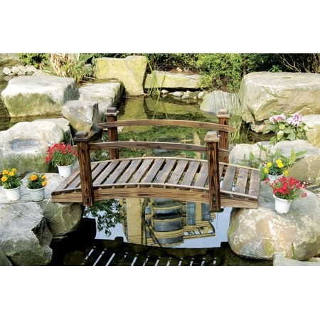 Rustic Wood Garden Bridge with Posts and Wooden Hand Rails Curved Rail Garden Bridge
